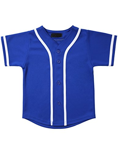 (Hat and Beyond Kids Baseball Button Down Jersey (6T, 5up01_Royal Blue/White))