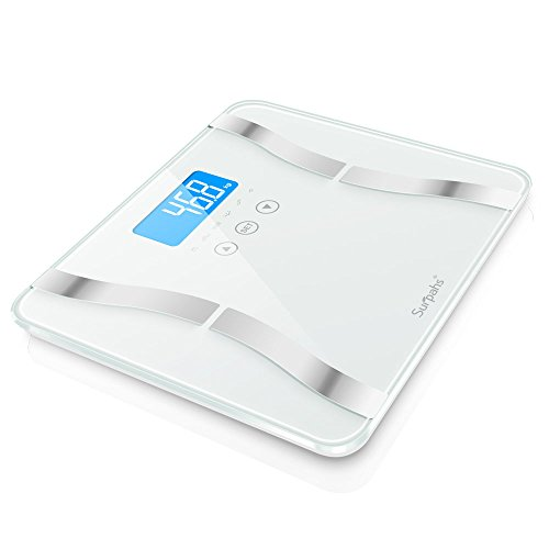 Surpahs DS2 2016 Body Fat Scale, 4 User Recognition, Measures Body Weight, Fat, Water, Calories, Muscle and Bone Mass