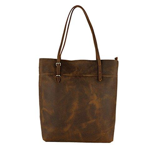 Jslove Women's Crazy Horse Leather Top-handle Tote Shoulder Bag