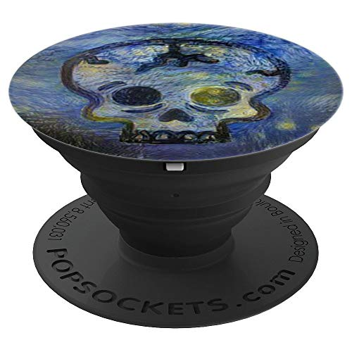 Skull Starry Night Altered Art Gift Halloween Goth - PopSockets Grip and Stand for Phones and -