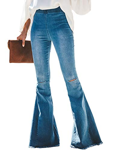 Meilidress Women Denim Pants Ankle Length Wash Vintage Wide Leg Flare Jeans