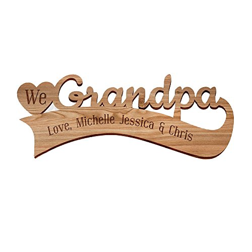 GiftsForYouNow Engraved We Heart Grandpa Personalized Wood Plaque