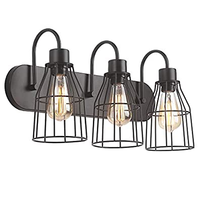 """ZZ Joakoah 3-Light Bathroom Vanity Light, Industrial Metal Cage Wall Sconce Vintage Wall Lamp Light Fixture for Bathroom Kitchen Living Room Vanity Hallway. - ▶DESIGN: 3-Light Industrial bathroom vanity light, Wire cage design, Simple and elegant, Send out a vintage rustic and industrial feeling. ▶Dimensions: 21.26"""" (L) x 11.22"""" (H) x 7.87"""" Projection from wall, Back plate size: 21.26""""(L) x 4.53""""(W) . ▶BULB REQUIREMENT: E26, Max 60W, Compatible with any E26 base LED bulb, CFL, Halogen, Incandescent. LED bulb can be dimmed with an extra dimmer switch (BULB NOT INCLUDED). - bathroom-lights, bathroom-fixtures-hardware, bathroom - 41ogECKHF%2BL. SS400  -"""