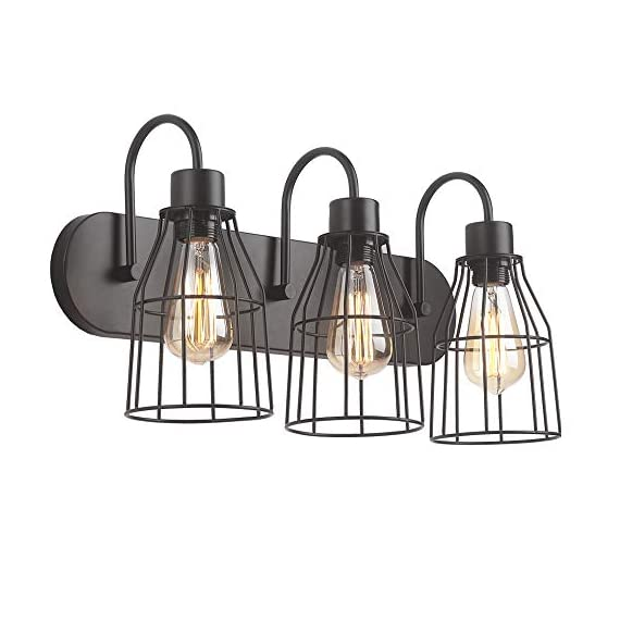"""ZZ Joakoah 3-Light Bathroom Vanity Light, Industrial Metal Cage Wall Sconce Vintage Wall Lamp Light Fixture for Bathroom Kitchen Living Room Vanity Hallway. - ▶DESIGN: 3-Light Industrial bathroom vanity light, Wire cage design, Simple and elegant, Send out a vintage rustic and industrial feeling. ▶Dimensions: 21.26"""" (L) x 11.22"""" (H) x 7.87"""" Projection from wall, Back plate size: 21.26""""(L) x 4.53""""(W) . ▶BULB REQUIREMENT: E26, Max 60W, Compatible with any E26 base LED bulb, CFL, Halogen, Incandescent. LED bulb can be dimmed with an extra dimmer switch (BULB NOT INCLUDED). - bathroom-lights, bathroom-fixtures-hardware, bathroom - 41ogECKHF%2BL. SS570  -"""