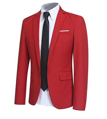 (YFFUSHI Men Slim Fit One Button Blazer Jacket Casual/Party Sport Coat,Red,Medium)