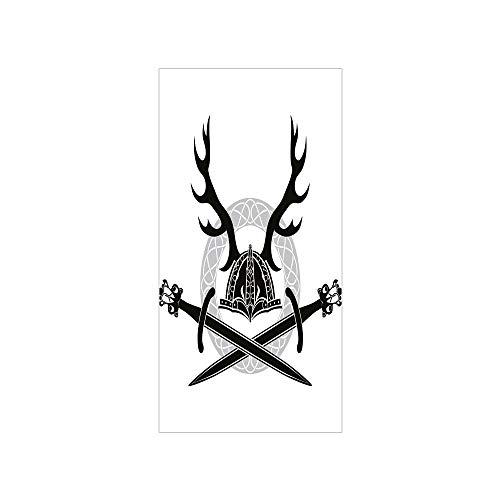 3D Decorative Film Privacy Window Film No Glue,Antler Decor,Helmet with Antlers and Viking Swords Celtic Circle Medieval Barbarian Decorative,Black White Silver,for (Medium Celtic Circle)