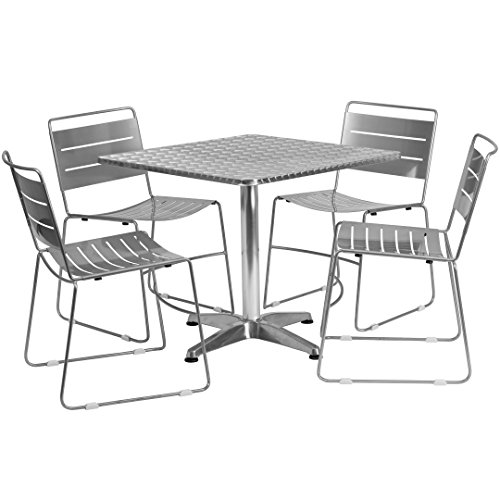 MFO 31.5'' Square Aluminum Indoor-Outdoor Table with 4 Silver Metal Stack Chairs