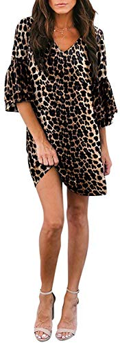 Leopard Print Party Dress - SVALIY Women's Chiffon V Neck Bell Sleeve Casual Loose Shift Party Mini Short Dresses (X-Leopard Print, S)