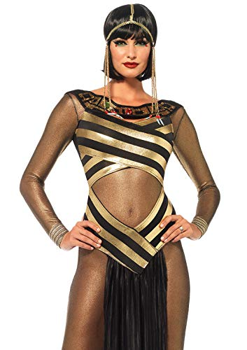Leg Avenue Leopard Skirt - Leg Avenue Women's 3 Piece Goddess Isis Costume, Gold/Black, Medium