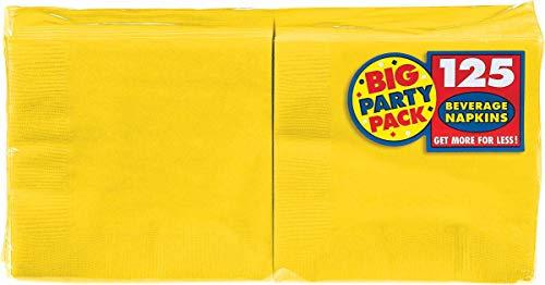 "Amscan Tableware Big Party Pack Beverage Napkins, 125 Ct. | 6.5"" x 6.5"", Sunshine Yellow"