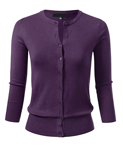 Allsense Women's Button Down 3/4 Sleeve Crew Neck Knit Cardigan Sweater L Grape