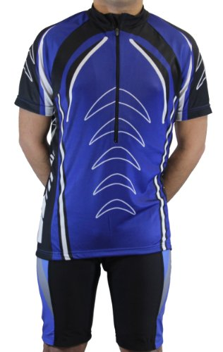 Men's Sublimated Print Race Cut Short-Sleeve Biking Cycling Jersey (Blue, Medium)