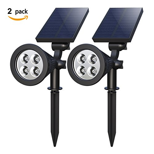 Solar Spotlights, Holan 4-LED Solar Landscape Lights 180 ° Adjustable Waterproof Outdoor Security Lighting 2-in-1 Wall Lights Auto On/Off for Backyard Driveway Patio Gardens Lawn Pool ( Pack of 2) (Solar Outdoor Spot Lights)