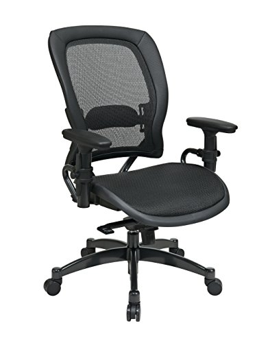 Space Seating Breathable Mesh Seat and Back, 2-to-1 Synchro Tilt Control, Adjustable Arms and Lumbar Support, with Gunmetal Finish Base Managers Chair, Black by Space Seating
