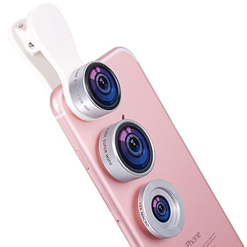 3-in-1 Macro/Fish-eye/Wide Clip Lens for Mobile Phone and Tablets (Silver) - 9