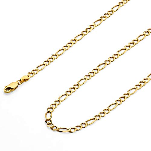 Wellingsale 14k Yellow Gold SOLID 3.5mm Polished Figaro 3+1 Open Chain Bracelet - 7.5""
