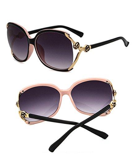 Detrás Gafas ocasionales Protección sol libre UV Beige aire Negra Parte verano moda Mujeres Delantera metal de al de bordeadas de Maibar de de viaje gxI6dg