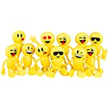 "Neliblu Emoji Party Favors - Fun Toys - 1 Dozen 4.5"" Emoji Smiley Face Emoticon Bendable Figures - Bulk pack of 12 By"