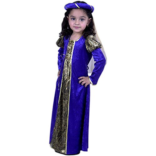 Child's Royal Blue Toddler 16th Century Princess Costume (2-4T)