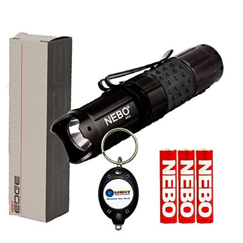 BUNDLE: NEBO 5519 CSI Edge 50 Lumen LED Flashlight, Black, w/ 3 Nebo AA batteries and LightJunction Keychain Light
