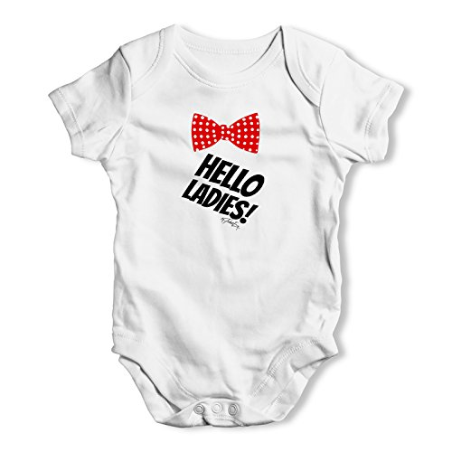 Twisted Envy Hello Ladies Bowtie Baby Unisex White Baby Grow Bodysuit 18 - 24 Months