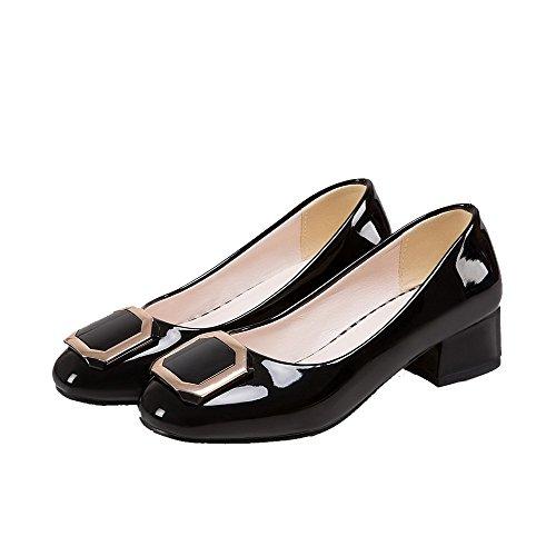 VogueZone009 Damen Ziehen auf Blend-Materialien Rund Zehe Niedriger Absatz Rein Pumps Schuhe Schwarz