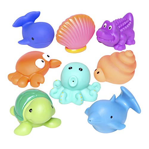 Elegant Baby Bath Time Fun Rubber Water Squirties , Animal Sea Party, Set of 8 Bath Squirt Toys ()
