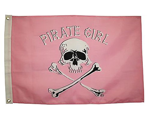 [Jolly Roger Pirate Girl Flag 3x5 Ft Outdoor Grade Nylon] (Somali Pirate Costume)