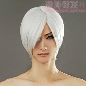 Short White Straight Cosplay Wig Rugby Wig Silver White Silver White Short Hair Ichigo Cosplay Wig Devil May Cry Wigs