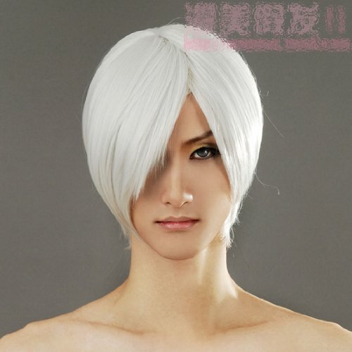 [Short White Straight Cosplay Wig Rugby Wig Silver White Silver White Short Hair Ichigo Cosplay Wig Devil May Cry] (Devil Costume Party City)