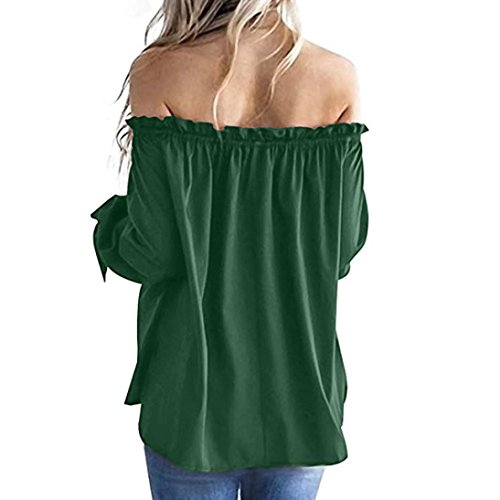 Blouse Dcontract Longues Shirt Bringbring Vert Tunique Bateau Femmes Top Cou Froide t Manches paule wFgWqPYRx