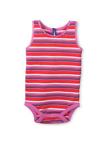 Tribeca 5 Light - Colored Organics Baby Girl's Luna Lace Tank Organic Bodysuit - Tribeca Stripe - 6-12M