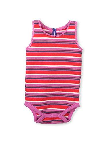 Colored Organics Baby Girl's Luna Lace Tank Organic Bodysuit - Tribeca Stripe - - Striped Pink Onesie