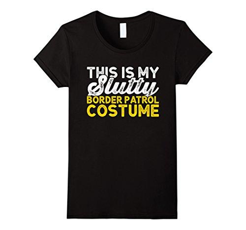 Womens Border Patrol Shirt Easy Lazy Halloween Costume Tshirt Medium Black
