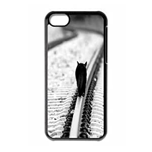 IPhone 5C Case, Funny Design Kitty Tracks Case for IPhone 5C {Black}