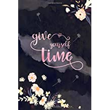 Give Yourself Time: 6x9 Password Book Organizer Large Print with Alphabetical Tabs | Flower Design Marble Black