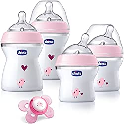 Chicco NaturalFit Newborn Gift Set - Pink Deco, 4 Pack Baby Bottle Set Plus Orthodontic Pacifier with Soft-flex Silicone Nipple