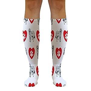 Funny Knee High Socks Akbash Dog Heart Paws Tube Socks Women & Men 1 Size 14