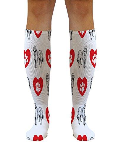 Funny Knee High Socks Akbash Dog Heart Paws Tube Socks Women & Men 1 Size 1