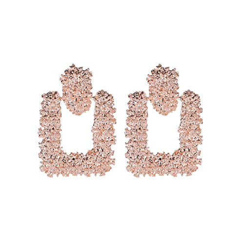 Elegant Charm Boho Chunky Statement Big Geometric Rectangle Drop Dangle Stud Earrings Victorian Style Crystal Floral Scroll Cameo Inspired Oval Stud Earrings Gifts for Women Girls (Rose Gold)