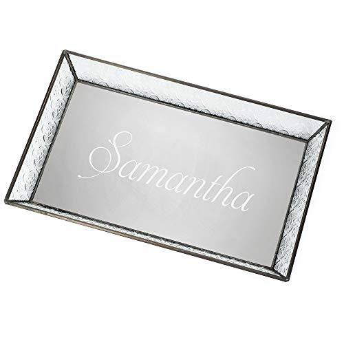 J Devlin Tra 106-1 ET209 Personalized Vintage Glass with Name Jewelry Tray with Mirrored Bottom Monogrammed Decorative Dresser Engraved Vanity Organizer - Glass Tray Stained Art