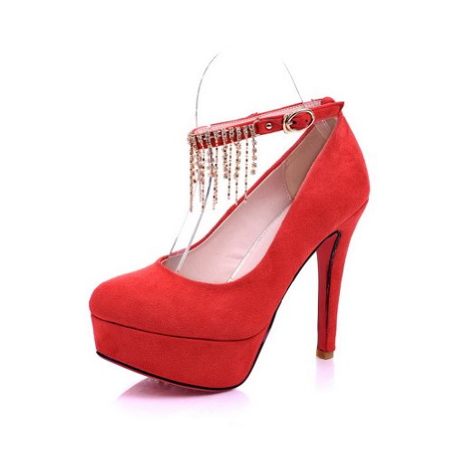 VogueZone009 Womens Closed Round Toe High Heel Stiletto Platform Soft Material PU Solid Mary Jane Pumps with Metal Chain, Red, 3 UK