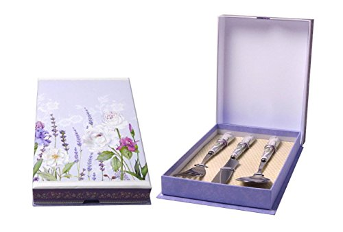 China Stainless Steel Spoon - Lightahead Set of Stainless Steel Knife, Fork and Spoon with Bone China Handle in a Reusable Handmade Gift Box, Lavender Treasure Design