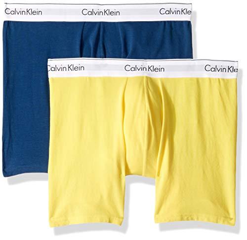 Calvin Klein Men's Underwear Modern Cotton Stretch Boxer Briefs, Airforce/Lemon Zest, S