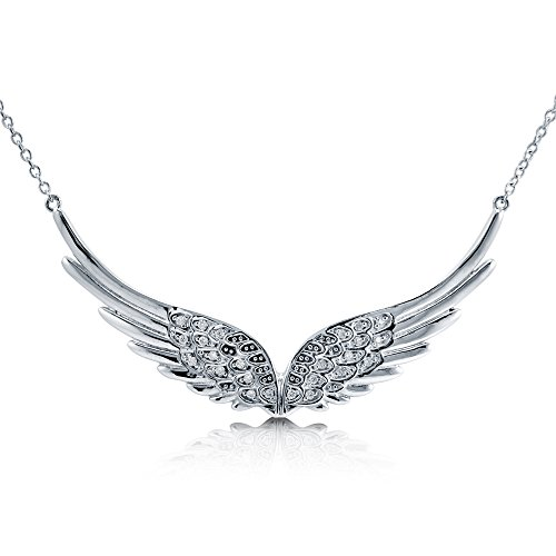 BERRICLE Rhodium Plated Sterling Silver Cubic Zirconia CZ Angel Wings Pendant Necklace 14.5+2 Extender