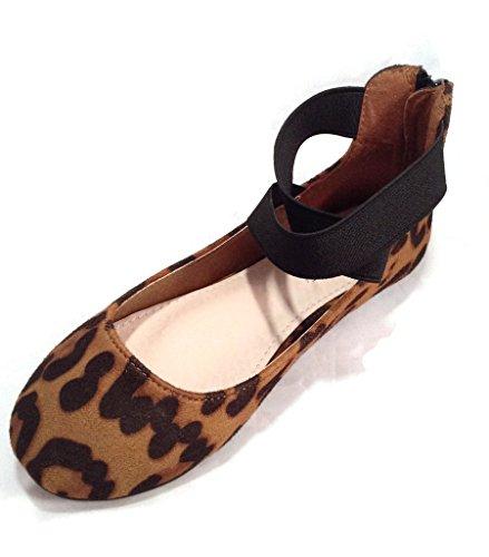 ANNA Mädchen Kinder Kleid Ballett Flache Elastische Knöchelriemen Faux Wildleder Schuhe Leopard-Druck
