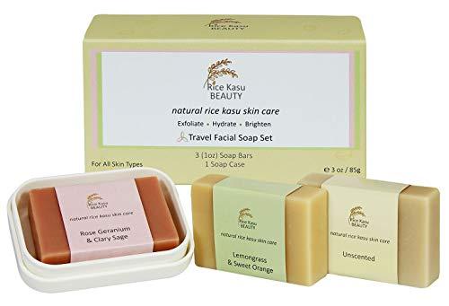 Rice Kasu Beauty Travel Facial Soap Set Plus Case, Unscented, Rose Geranium, Lemongrass and Sweet Orange, 3 Ounce