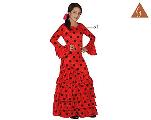 Atosa - Disfraz de flamenca para niña, color rojo, talla L, 7-9 años (111-26532)