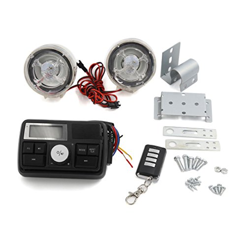 uxcell 12V Motorcycle Skull Pattern Stereo Speaker Anti-Theft Alarm System MP3 Audio by uxcell
