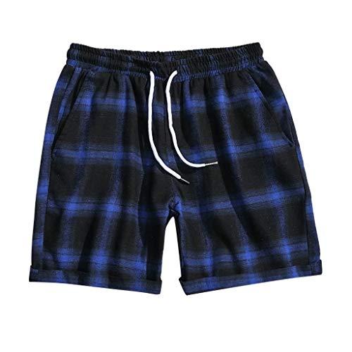 terbklf Mens Fashion Casual Lattice Leisure Wide Sport Shorts for Men with Pockets Plaid Breeches Slim Pants Mens Shorts Blue